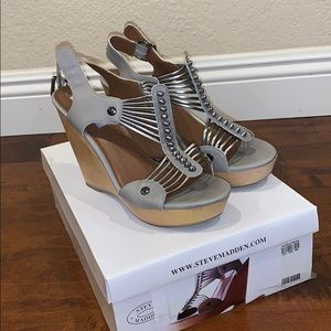 Strappy Silver Wedges